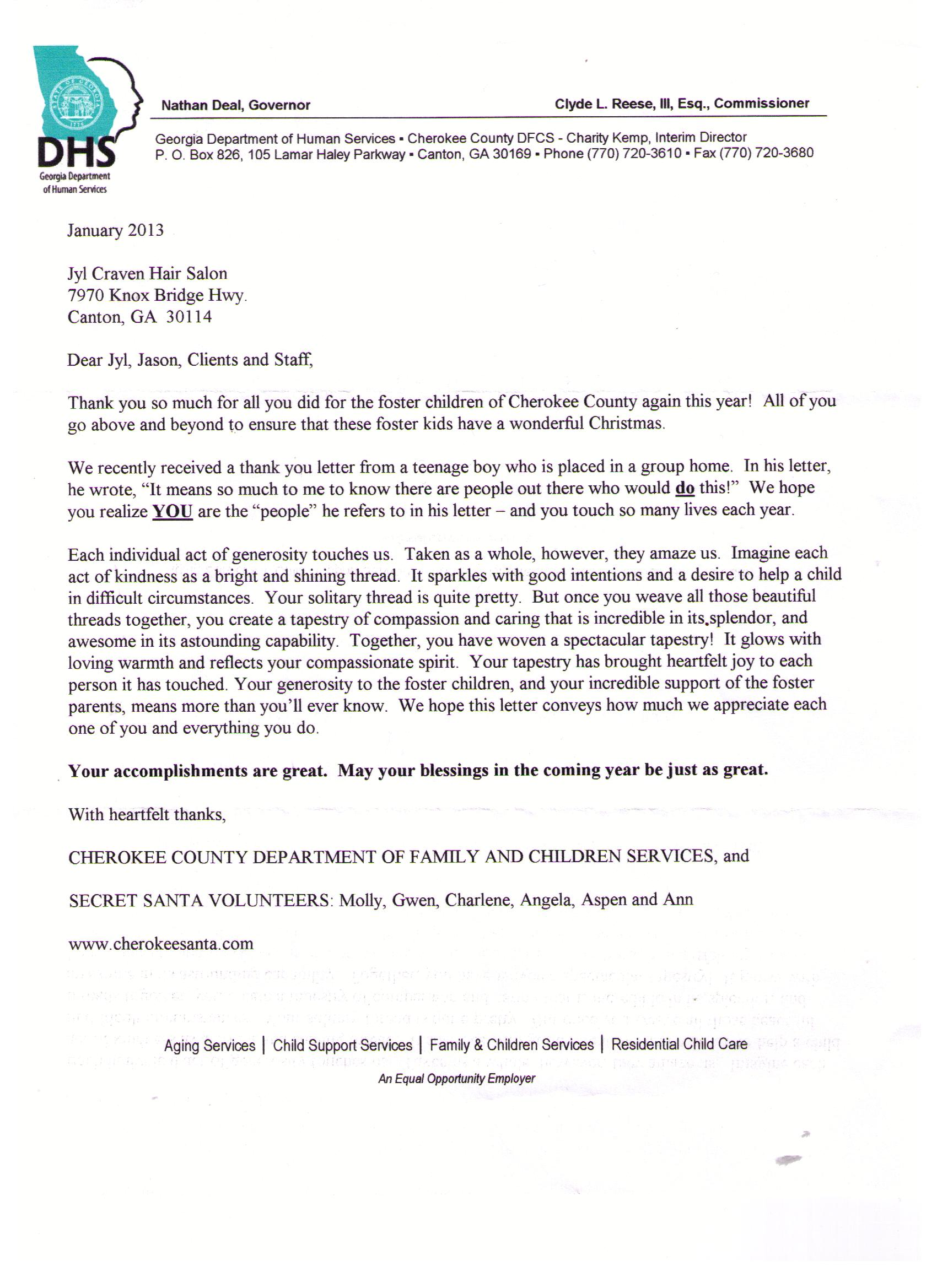 Super Awesome Secret Santa Letter Jyl Craven Hair Design